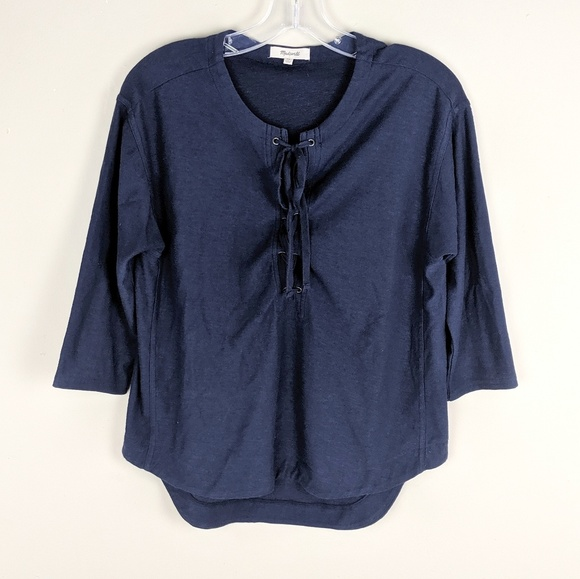 Madewell Tops - Madewell | Navy Lace Up Blouse - E82